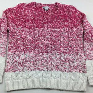 Liz Claiborne Women's Pink Sweater Cable Knitted